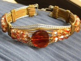 Rose Gold Jewelers Bronze and Stainless Steel Square Wire And Amber Glass Beads Bracelet