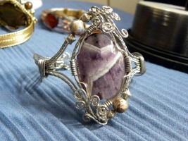 Stainless Steel Square Wire and Amethyst Cabochon Bracelet