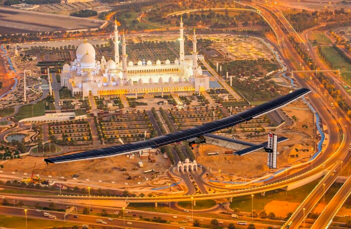 solar impulse 2 flies over abu dhabi copyright solar impulse