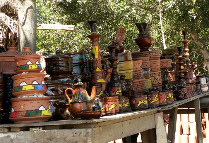 pottery for sale on table