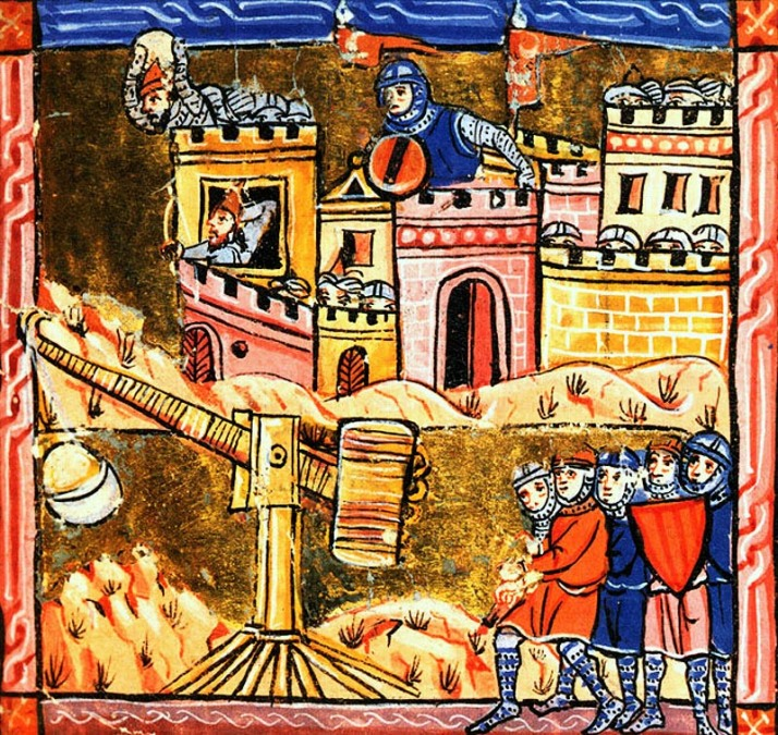 Siege of Acre 1189-91 from medieval illustration